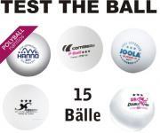 Test the ball - 15 Plastik Tischtennisbälle