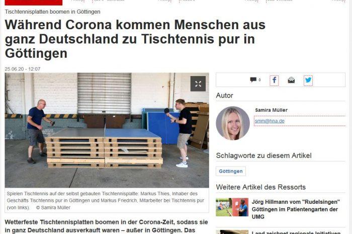 Bericht in der HNA über Tischtennis pur