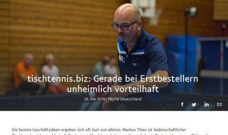PayPal berichtet über Tischtennis.biz