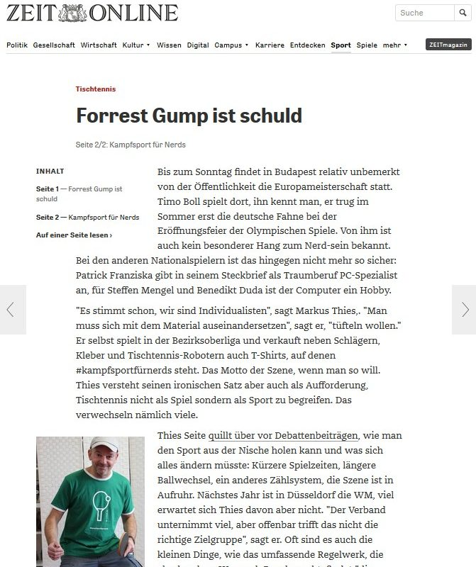 """Artikel """"Forrest Gump ist schuld"""" auf Zeit Online"""