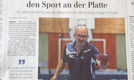 Das Göttinger Tageblatt berichtet über Tischtennis pur