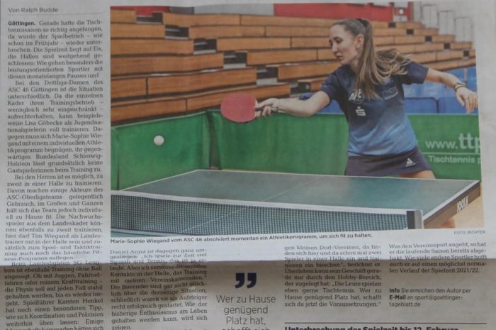 Tischtennis in Göttingen zur Zeit der Corona-Pause