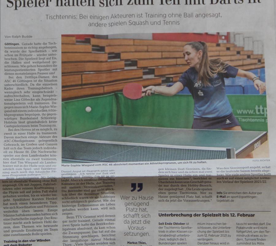 Tischtennis in Göttingen: Spieler halten sich zum Teil mit Darts fit Göttinger Tageblatt